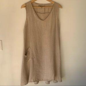 Flax 100% Linen Dress M Medium Natural